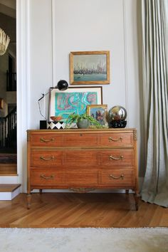 New Frames and Tiger Chest in the Library - Little Green Notebook The Bunkhouse, Little Green Notebook, Cheap Frames, Interior Architecture, Interior Design, Black Cabinets, Dresser As Nightstand, Sweet Home, Living Room