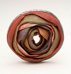 Brooch | Steven Ford and David Forlano.  ' O'Keeffe' Silver and polymer clay.  { http://www.fordforlano.com/work-2008-09.php }