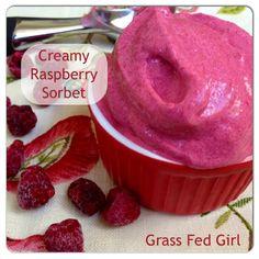 Easy Raspberry Sorbet (Paleo, Dairy Free, Low Carb)