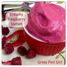Easy Raspberry Sorbet (Paleo, Dairy Free, Low Carb) - Grass Fed Girl, LLC