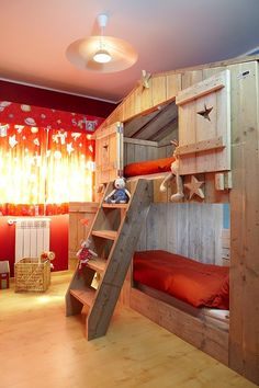 What an awesome bunk bed!  Great project for someone gifted in carpentry.