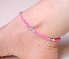 Neon Pink Anklet Beaded Ankle Bracelet Pink and by JewelleryByJora