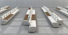 Lounge bench made of concrete and wood designed for public spaces, station and airports
