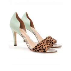 We're minty-keen for Loeffler Randall's Charlotte D'orsay Pump | Curved mint leather back contrasts against cheetah printed haircalf toe strap | White snakeskin insole | 3.75in / 95mm covered heel and leather sole.  100% Leather | 100% Haircalf contrast
