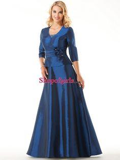 2013 Elegant Modern A-line Scoop Plus Size Floor-length Long Taffeta Three of Quater Sleeves #Mother of the #Bride #Dress MBD-50435