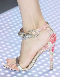 Giambattista Valli - Va Va Voom! Sky high, pink floral sandals with very chunky, gold, chain ankle strap.  Definitely not for the shy, retiring type!  #Accessories #Shoes #GiambattistaValli