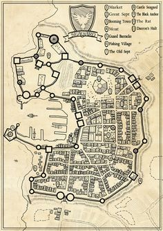 Seagard city map - A nice model for Consta, though a river runs through it. Fantasy Map Making, Fantasy City Map, Fantasy Castle, Fantasy Rpg, Warhammer Fantasy, Dungeons And Dragons Game, Dungeons And Dragons Homebrew, Plan Ville, Village Map