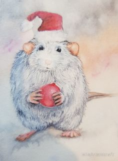 Christmas mood Mouse with a red Christmas ball New year 2018 #christmascards, #watercolorcard, #handmadecard, #christmasgift, #newyear2018, #xmascards, #uniquecards, #originalwatercolor, #watercolour, #painting, #winterpicture, #winterpainting, #christmasball, #christmasdecor, #christmasmood, #giftsideas, #christmasgifts, #cards