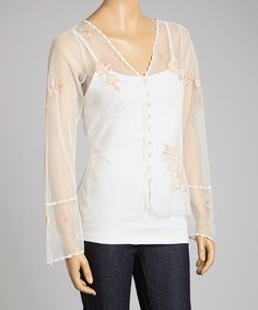Another great find on #zulily! Ivory & Peach Rose Appliqué Sheer Button-Up Top - Women by Nataya #zulilyfinds