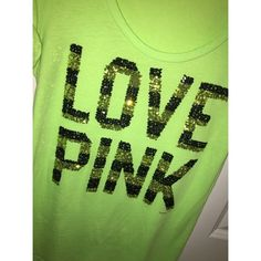 REDUCED PRICE Victoria's Secret Sequin Top NEVER WORN PINK top with super cute sequins! Bright lime green shirt ☺️ Any questions feel free to ask! PINK Victoria's Secret Tops Tees - Short Sleeve