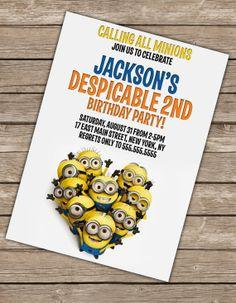 Despicable Me Birthday Invitation Printable by 14westgraphics, $7.00