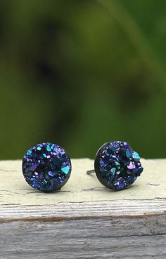 These Faux Druzy Stud Earrings. Blue Purple and Black will go perfect with the Druzy Quartz nexklace I just got