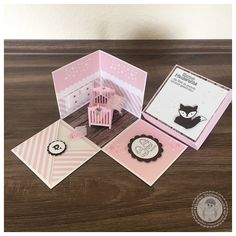 Stampin' Up! - Explosionsbox zur Geburt - Bellas Stempelwelt - Baby Bettchen, Cameo, Zartrosa, Foxy Friends, Kinderzimmer