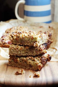Rhubarb & ginger oaty slices by Scrummy Lane