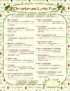 Christmas Lyrics Game Christmas Song Game Christmas Carol