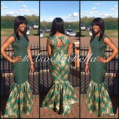 "Love the idea of doing the front of the dress in a solid to give slimming effect & minimize the ""busy pattern"" on the front. BellaNaija Weddings presents – – Fab Aso Ebi Styles! Africa Fashion, African Inspired Fashion, African Print Fashion, Ethnic Fashion, African Print Dresses, African Fashion Dresses, African Dress, Ankara Dress, African Attire"