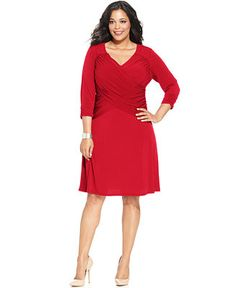 NY Collection Plus Size B-Slim Three-Quarter-Sleeve Cross-Front Dress - Dresses - Plus Sizes - Macy's