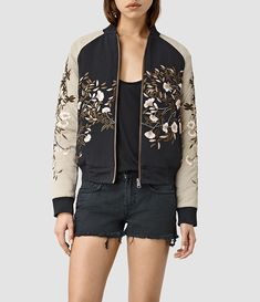 All saints Womens Amarey Embroidered Bomber Jacket (BLK/CHAMPAGNE PINK) -