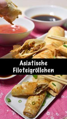 Rezept für Knusprige asiatische Filoteigröllchen gefüllt mit Chinakohl und Hackfeisch