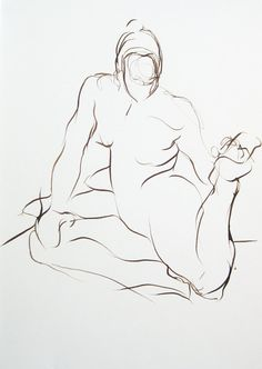 Figure Drawing - Gesture Stretch - Ink on Paper -  by Michelle Arnold Paine