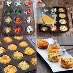 Eggmuffins. Groenten/vlees. Voeg geklopte eieren toe en kruiden naar smaak. 20/25 minuten in de oven op 200C. Kunnen zowel warm als koud gegeten worden. Ook goed in te vriezen