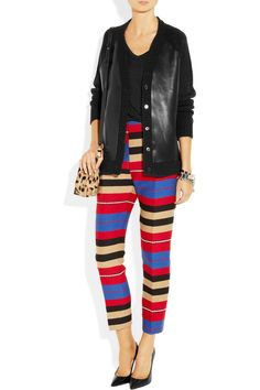 Marni|Leather and wool-blend cardigan|NET-A-PORTER.COM