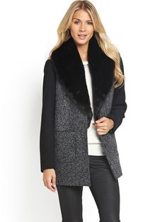 R Faux Fur Trim Hood Rope Toggle Duffle Coat | Coats Shops and