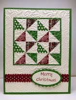 Stampin' Up! ... handmade Christmas quilt card ... red, green and white ... four patch square with  pinwheel design ... great card!