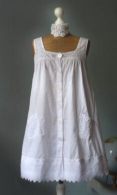 Vintage upcycled white dress embroidered tunic cotton by GreenHouseGallery: