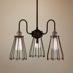 Avenel Industrial Edison Bronze 19-Inch-W 3-Light Pendant