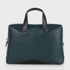 Paul Smith Men's Bags - Green Leather Deluxe V-Base Business Folio
