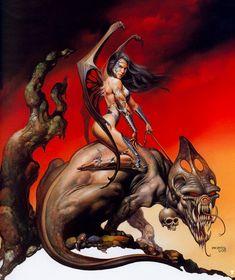 New Ideas For Fantasy Art Women Warriors Boris Vallejo Dark Fantasy Art, Fantasy Art Women, Fantasy Kunst, Fantasy Artwork, Boris Vallejo, Julie Bell, Bell Art, Frank Frazetta, Sword And Sorcery