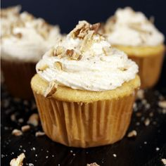 Pecan Cupcakes with Pumpkin Spice Frosting Recipe Desserts with yellow cake mix, eggs, whole milk, unsalted butter, cinnamon, brown sugar, pecans, pumpkin pie spice, vanilla extract, butter, heavy whipping cream, powdered sugar