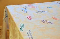 Thanksgiving table cloth. Every year, you and your guests write 1 or 2 things you are grateful for with fabric markers on a white table cloth. Then sign and date. Watch your Thanksgiving memories grow year after year. Love this tradition! I want to start it with my family.