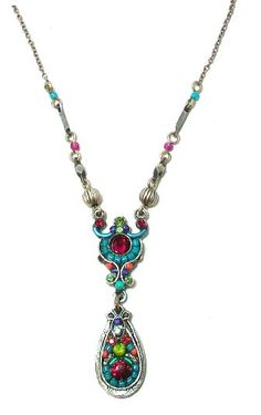 Amazon.com: Firefly Antique Steel Delicate Mosaic Pendant Necklace with Multi-Color Swarovski Crystal and Czech Bead Accented Teardrop: Jewelry