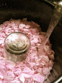 making of real rosewater - clever and makes sense... might try this with other things too, like eucalyptus leaves.