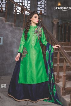 Green Designer Indo Western Style Dress With Embroidary Work Exotica Talrejas 6905