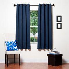 Lighter navy blue short curtains