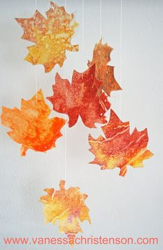 Need Pretty Leaves for Cards or Scrapbooking?  Follow V and Co.: how to: wax paper and crayon fall leaves