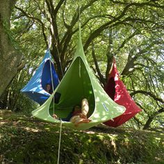 Hanging Cacoon - expensive, but I would SO LOVE this camping.  This whole website is cool with outdoor furniture.