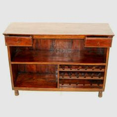 Open Wood Wine Storage Cabinet Rack Table Home Pub Bar