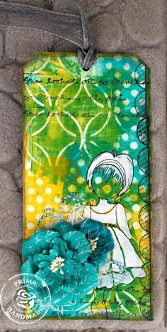 Mixed Media Tag by Brit Sviggum for Prima! www.prima.typepad.com