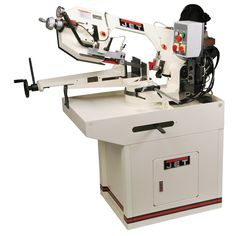 JET J-9225 8-3/4-Inch 1.5-Horsepower 230-Volt Three Phase Zip Miter Horizontal Bandsaw. Adjustable hydraulic feed system. Eccentric shaft, ball bearings. Heavy duty cast iron saw head and sturdy base. Mitering capability to 60°. Convenient control panel.