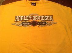 Harley Davidson Las Vegas Nevada T Shirt L Yellow Graphics Front and Back #HarleyDavidsonHanesBeefyTee #Tshirt