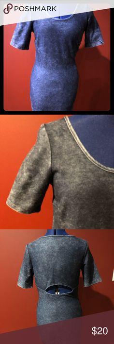 Denim dress. Form fitting denim short sleeve dress with cutout in the back. Macy's Dresses Mini