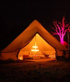 Bell Tent.  If i was going to live in a tent (which would be quite nice) i would do it in one of these.
