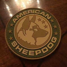 Beautiful PVC Rubber American Sheepdog Logo Patch with Velcro backing