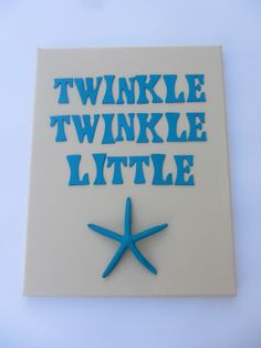 Beach Nursery Art - Starfish Canvas - Twinkle Twinkle Little Star