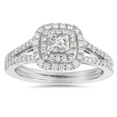 This women's ring features a 1/3ct princess cut center stone and round cut accent diamonds prong set in solid 14k white gold. Size: 7.5. Color: gold/white. Gender: female. Age Group: adult. Cinderella Engagement Rings, Princess Cut Engagement Rings, Princess Rings, Double Halo Engagement Ring, Diamond Engagement Rings, Pink Ring, Princess Cut Diamonds, Diamond Wedding Bands, Halo Diamond