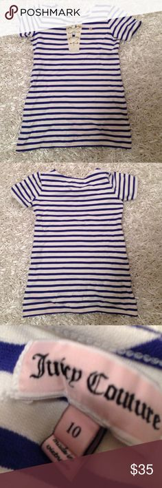 Juicy Couture Girls Shirt This is yet another never worn shirt with no issues. This shirt has almost a nautical theme to it which is perfect for summer and going to the beach. The strips are a cute statement without going overboard. The fabric is very thick. Juicy Couture Tops Tees - Short Sleeve